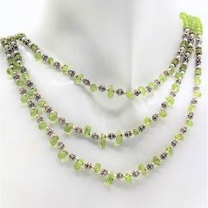 Multi strand peridot beaded necklace